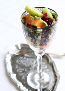 vegan melon mint kiwi salad