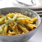 Steamed yellow Turnip in dill dressing